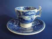Copeland Spode Blue 'Italian' London Shape Coffee Cup and Saucer c1904
